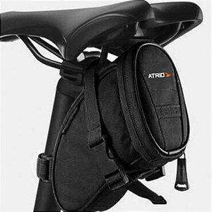Bolsa De Selim para Bicicleta Capacidade de 1L Resistente à Água Logo Refletivo Material em Poliéster e PVC Preto Atrio- BI093
