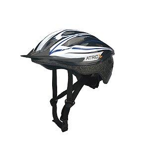 Capacete para Ciclismo MTB Alças Ajustáveis e 19 Entradas de Ar Azul/Branco Atrio Tam. M - BI037