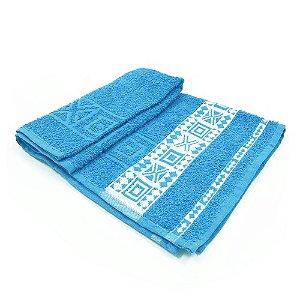 Toalha De Rosto Jacquard Nomade - Cor Azul c/ detalhe Branco