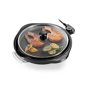 Panela Grill Gourmet 220V com 1200W Grelha Antiaderente Temp