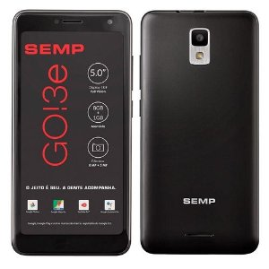 "Smartphone Semp Go! 3e, Preto, Tela 5"", 3g+Wi-Fi, Android, Câm Traseira 8mp E Frontal 5mp, 8gb"