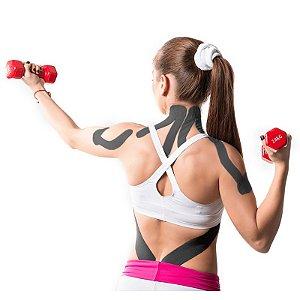 Fita Kinesio Muscle Fix 5x25cm Pré Cortada Em Y Preta - HC1