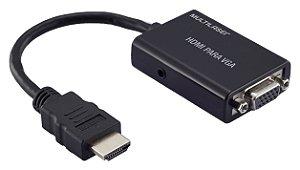 Cabo Conversor HDMI para VGA com Saída de áudio Multilaser