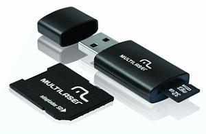 Pen Drive 3 em 1 USB MicroSD Card c/ Adaptador SD 32GB Multi