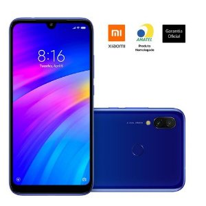"Smartphone Xiaomi Redmi 7 - Tela Infinita 6.23"" - 64GB - Dual Chip - 4G - Azul Cometa"