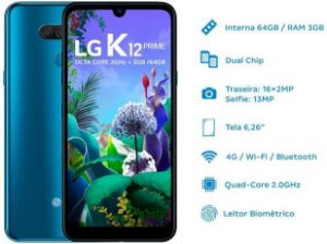 "Smartphone LG K12 Prime 64GB Azul 4G Octa Core - 3GB RAM Tela 6,26"" Câm. Dupla + Câm. Selfie 13MP"