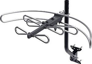 ANTENA EXTERNA DIGITAL FULL HD HDTV/UHF/VHF COM SUPORTE E CA
