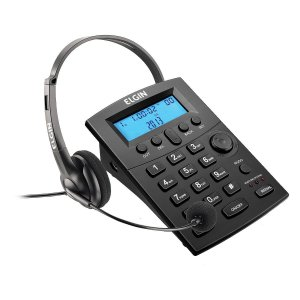 TELEFONE HEADSET COM IDENTIFICADOR DE CHAMADAS HST-8000 PRET