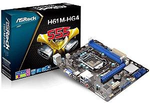 PLACA-MÃE MICRO ATX ASROCK H61M-HG4 - LGA 1155 - 2ª E 3 GE