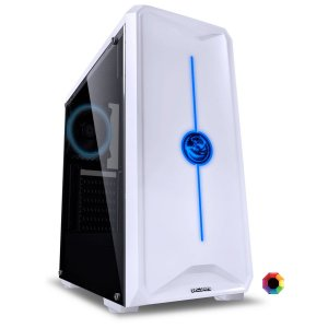 GABINETE MID-TOWER NOVA BRANCO COM 1 FAN LED 7 CORES LATERAL
