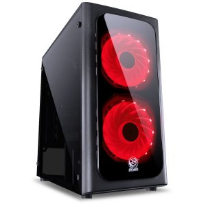 GABINETE MID-TOWER VENUS PRETO COM 2 FANS LED VERMELHO LATER