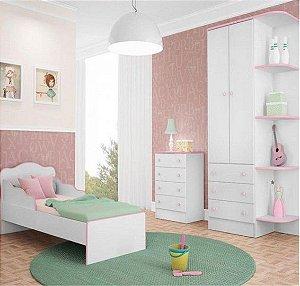 Quarto Juvenil Completo Doce Sonho Com Mini Cama Branco/rosa - Qmovi