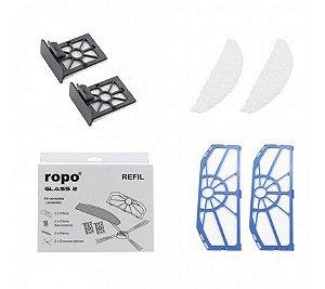 Kit Refil Robo Aspirador de pó Ropo Glass 2 com escovas filtros e panos