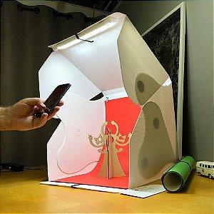 Mini Estúdio Portátil Tipo Caixa Branca De 45cm, expansível com Luz De Led branco de 6000k da Mutu, com 5 fundos infinitos, para fotos de produtos.