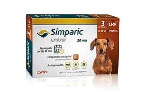 Simparic 20 Mg Antipulgas 5 A 10 Kg Com 3 Comprimidos