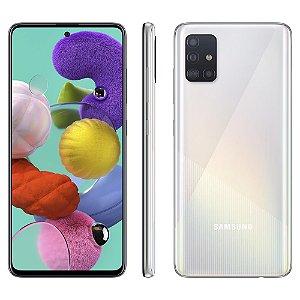 "Smartphone Samsung Galaxy A51 Branco 128GB, Tela Infinita de 6.5"", Câmera Traseira Quádrupla, Leitor Digital na Tela, Android e Processador Octa-Core - Branco"