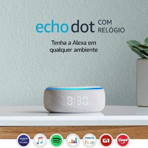 Echo Dot com relógio: Smart Speaker com Alexa - Cor Branca