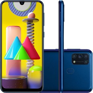 "Smartphone Samsung Galaxy M31 128GB Dual Chip Android 10.0 Tela 6.4"" Octa-Core 4G Câmera Quádrupla 64MP+8MP+5MP+5MP"