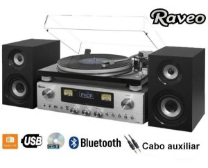 Toca-discos Raveo Concert One Vitrola Rádio Cd Bluetooth Usb
