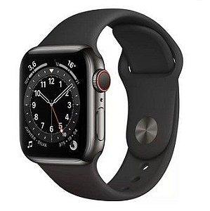 Apple Watch Series 6 (GPS) 40mm Caixa Cinza-Espacial de Alumínio com Pulseira Esportiva Preta