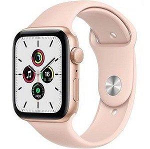 Apple Watch SE (GPS) 44mm Caixa Dourada de Alumínio com Pulseira Esportiva Areia-Rosa