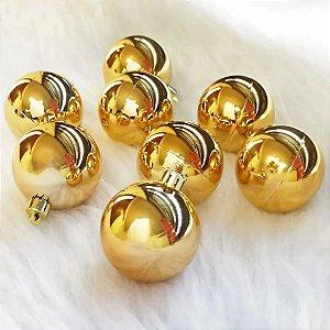 Kit 12 Bolas Bolinhas De Natal Dourada Lisa