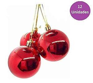 Kit 12 Bolas Bolinhas De Natal Vermelho Lisa