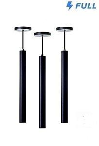 Kit 3 Pendente Tubo Cilindro Alumínio 40cm