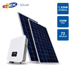 GERADOR SOLAR 1,32KWP INVERSOR ODEX 3KWP 4 PAINEIS 330W ODEX SEM ESTRUTURA