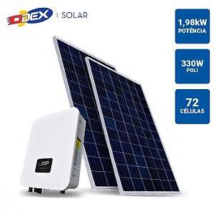 GERADOR SOLAR 1,98KWP INVERSOR ODEX 3KWP 6 PAINEIS 330W ODEX SEM ESTRUTURA