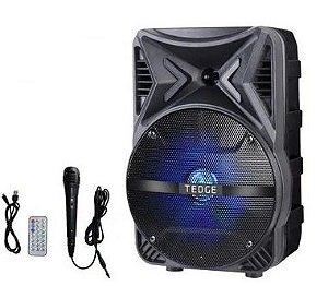 Caixa De Som Portátil Bluetooth Microfone 8 Polegadas Tedge