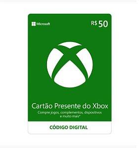 Gift Card Digital Xbox Cartão Presente R$ 50
