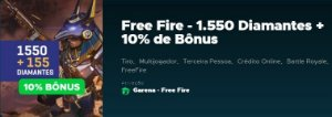 Gift Card Digital Free Fire 1.550 Diamantes + 10% de Bônus