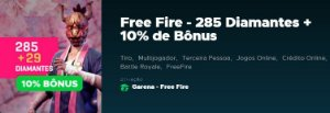 Gift Card Digital Free Fire 285 Diamantes + 10% de Bônus