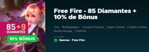 Gift Card Digital Free Fire 85 Diamantes + 10% de Bônus