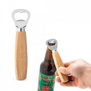Abridor de garrafas em metal com cabo em madeira Personalizado em laser baixo relevo