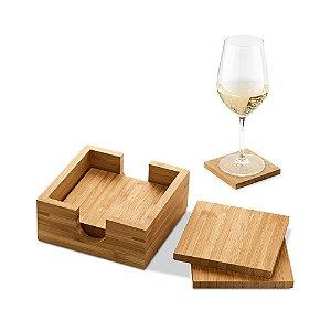Kit de 4 porta copos em bambu personalizado