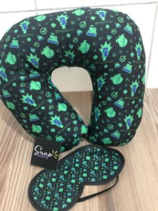 Almofada de pescoço e máscara personalizada em sublimação