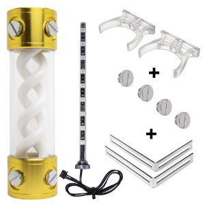 Water Cooler Reservatório Syscooling RGB 200mm Dourado c/ Kit Montagem