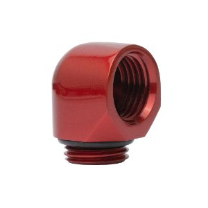 Water Cooler Mini Fitting Curva 90º Graus Bykski Vermelho G1/4