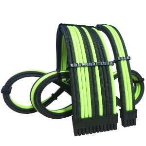 Kit Cabos Sleeved Exclusivos Felion Custom - Verde Neon Intercalado