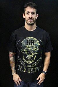 T-Shirt Caveira Camuflada Illicit 55 - Preta