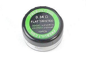 PREBUILT FLAT TWISTED 0.36Ω PACK COM 10 - COIL'S PREBUILT COIL