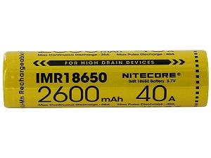 Bateria  18650 de Lithium POWER IMR 40A 2600 mAh -  Nitecore