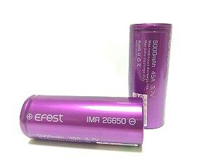 Bateria Li-Ion Efest Purple 26650  3.7V 5000mAh High Drain 45A - UNITÁRIO