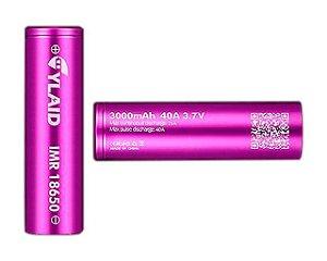 Bateria 18650 Li-Mn IMR 18650 CYLAID 3.7V 3000 mAh High Drain 40A - Unitário