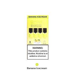 QPODS NicSalts Banana Ice Cream Cartuchos 0.9ml Compatível Com JUUL