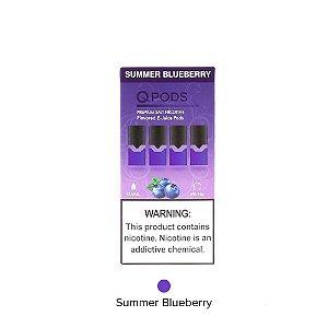 QPODS NicSalts Summer Blueberry Cartuchos 0.9ml Compatível Com JUUL