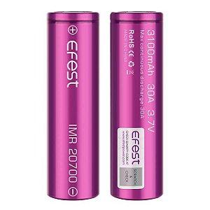Bateria 18650 Li-Ion Efest Purple 20700 3.7V 3100mAh High Drain 30A - UNITÁRIO