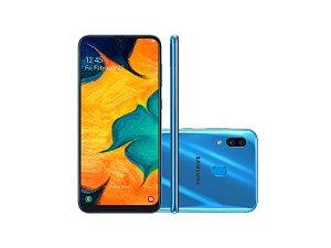 """Smartphone Samsung A30 A305GT/6DL, (SP), Android 9.0, Dual Chip, Processador Octa Core 1.8 GHz, Câmera Dupla 16 + 5 MP e Frontal 16 MP , Tela 6.4 """", Memória 64 GB e Expansível até 512GB,RAM 4GB, Rede 4G + WiFi. Azul Sim"""